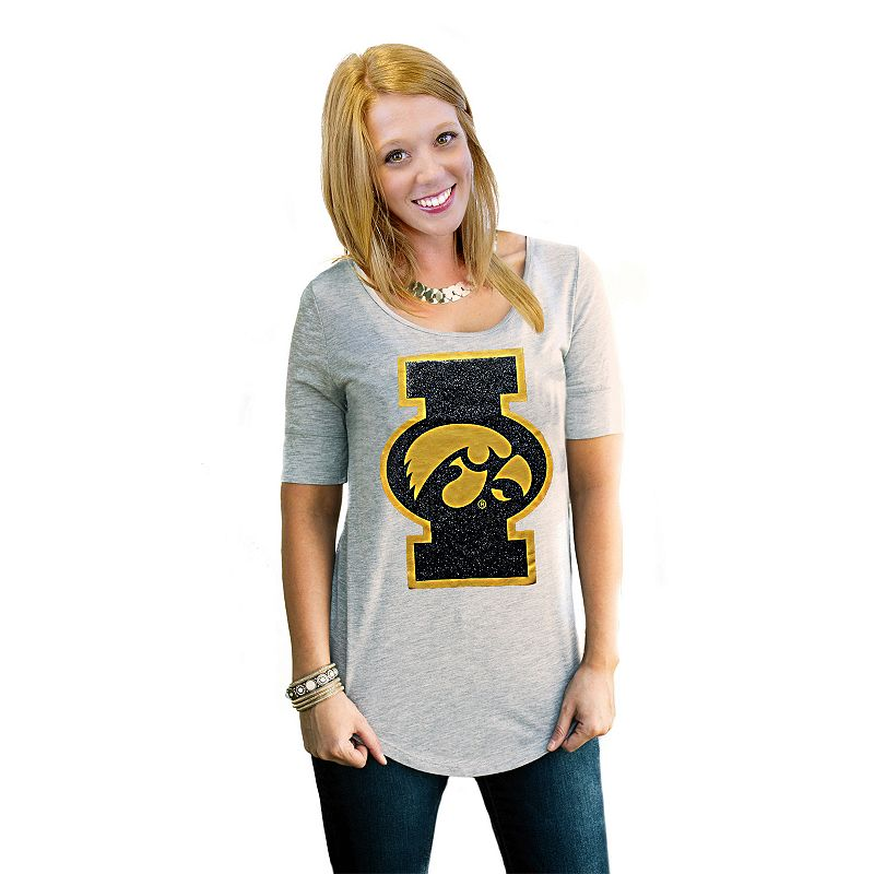 Women's Gameday Couture Iowa Hawkeyes Gray Slouchy Tee