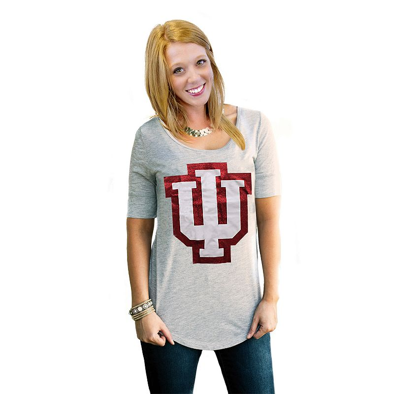 Women's Gameday Couture Indiana Hoosiers Gray Slouchy Tee