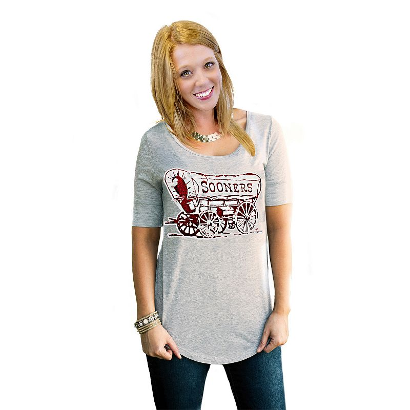 Women's Gameday Couture Oklahoma Sooners Gray Slouchy Tee