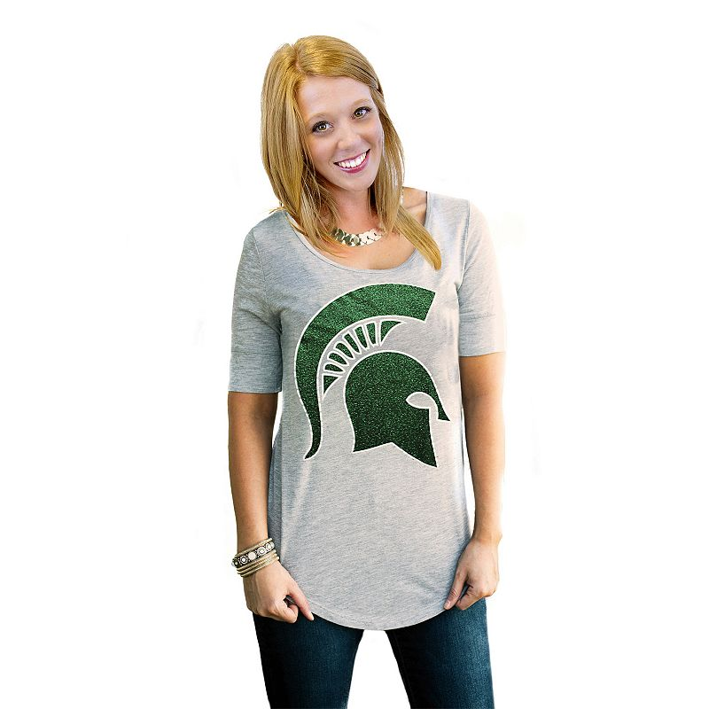 Women's Gameday Couture Michigan State Spartans Gray Slouchy Tee