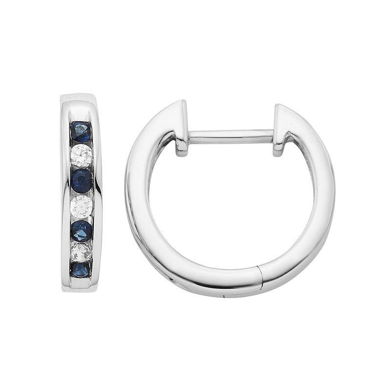 14k White Gold 1/10 Carat T.W. Diamond & Sapphire Hoop Earrings