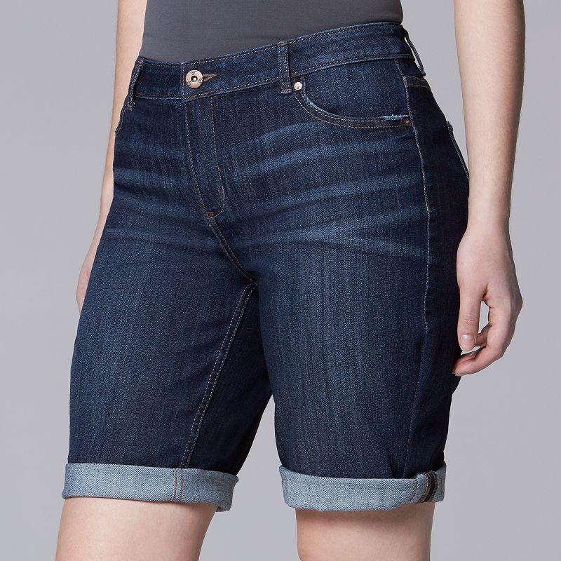 Plus Size Simply Vera Vera Wang Cuffed Bermuda Jean Shorts