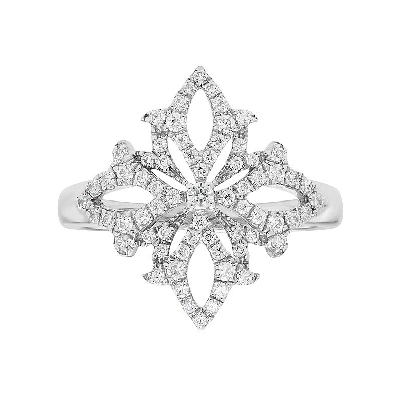 14k White Gold 3/8 Carat T.W. Diamond Snowflake Ring