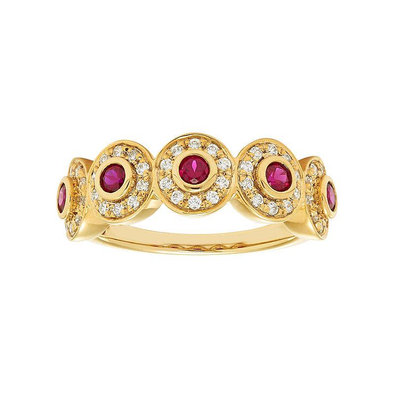 14k Gold Ruby & 1/3 Carat T.W. Diamond Circle Ring