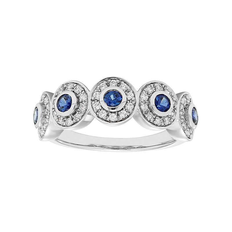 14k White Gold Sapphire & 1/3 Carat T.W. Diamond Circle Ring