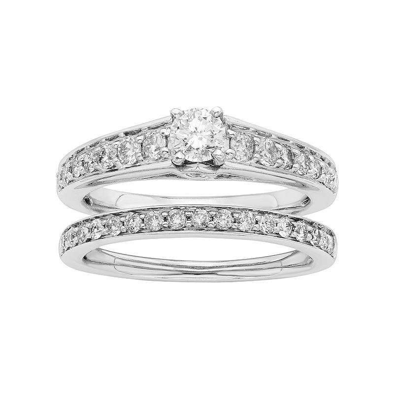 14k White Gold IGL Certified 1 Carat T.W. Diamond Engagement Ring Set