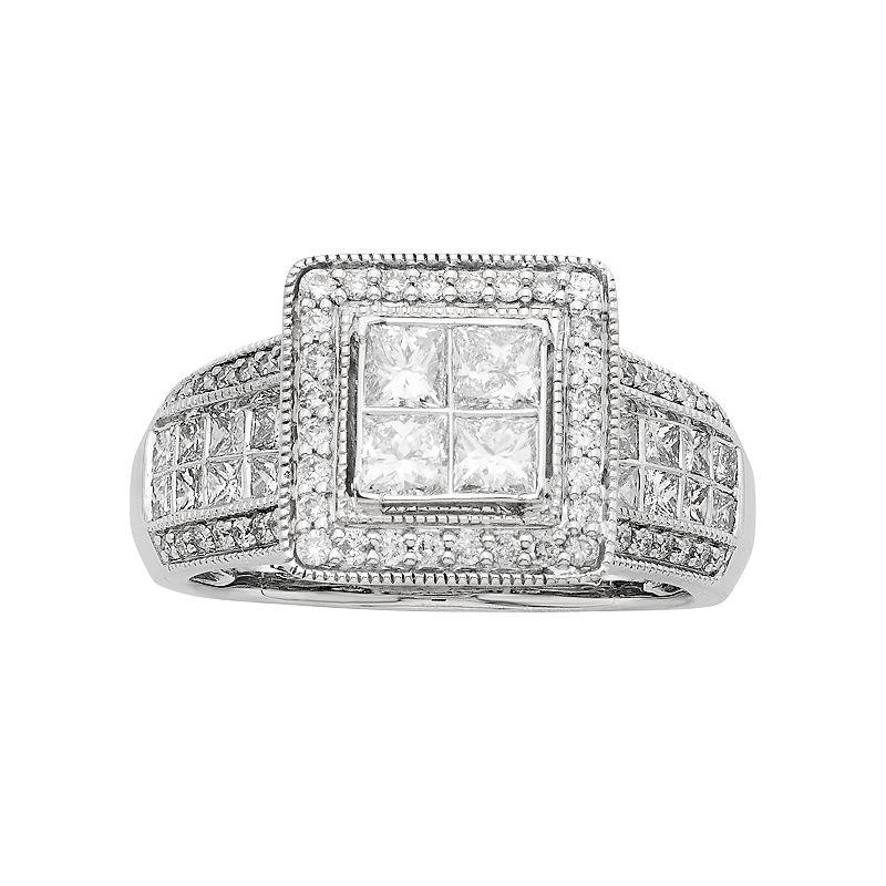 14k White Gold IGL Certified 1 1/2 Carat T.W. Diamond Halo Engagement Ring