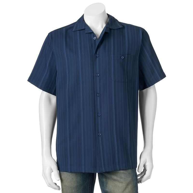 Men's Haggar Textured Microfiber Button-Down Shirt