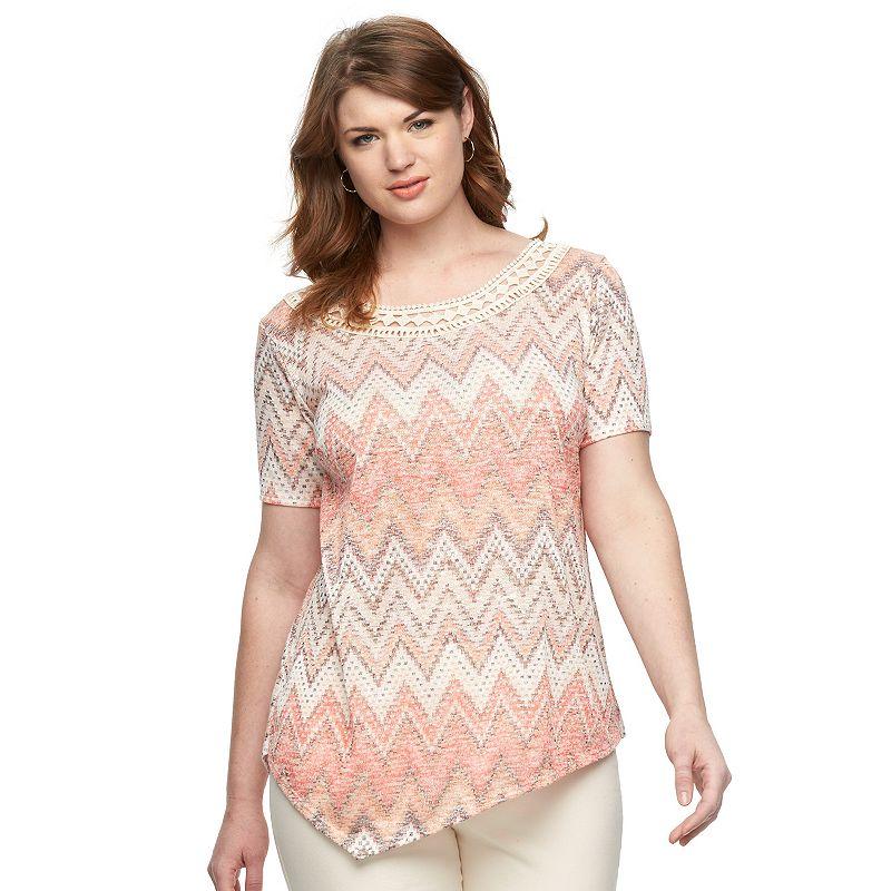 Plus Size AB Studio Chevron Asymmetrical Sweater Top