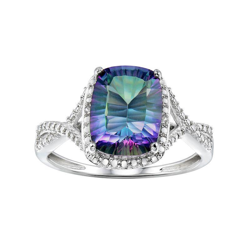 Sterling Silver Mystic Fire Topaz & Diamond Accent Twist Ring