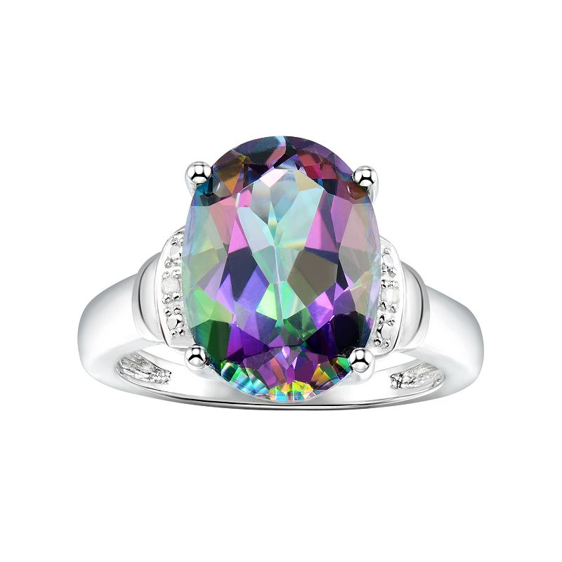 Sterling Silver Mystic Fire Topaz & Diamond Accent Oval Ring