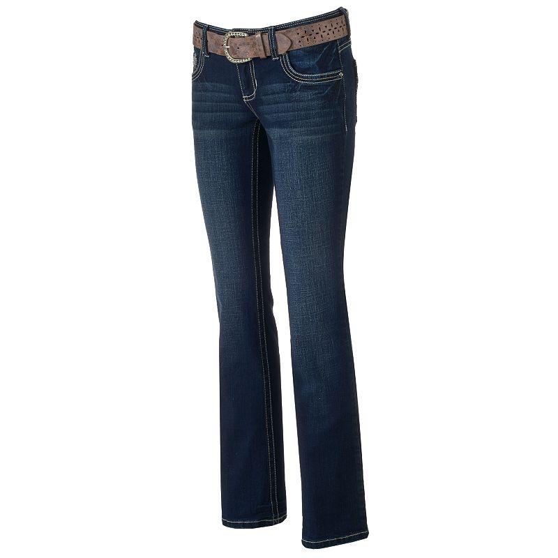 Juniors' Amethyst Slim Bootcut Jeans
