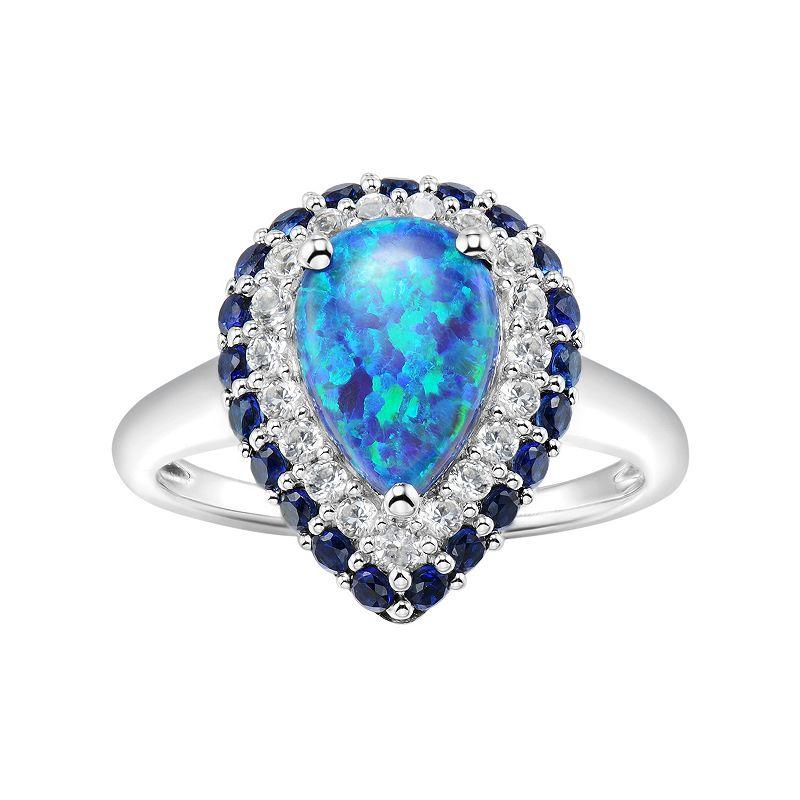 Sterling Silver Gemstone Teardrop Halo Ring