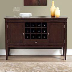 Simpli Home Carlton Sideboard Buffet & Wine Rack by