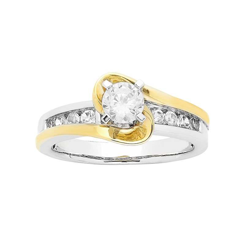 Two Tone 14k Gold 1 Carat T.W. IGL Certified Diamond Wrap Engagement Ring