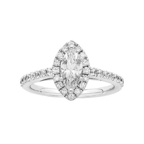 14k White Gold 1 1/8 Carat T.W. IGL Certified Diamond Marquise Halo Engagement Ring