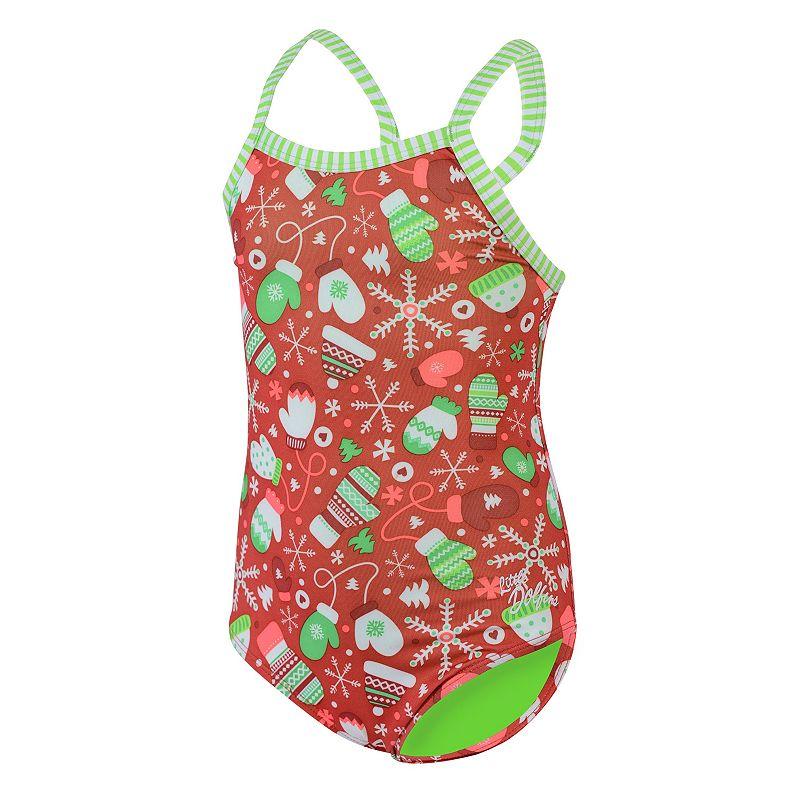 Girls 4-6x Dolfin Uglies Snowflake Mittens One-Piece Swimsuit