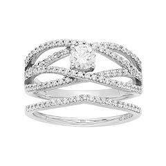 14k White Gold 1 Carat T.W. IGL Certified Diamond Openwork Engagement Ring Set