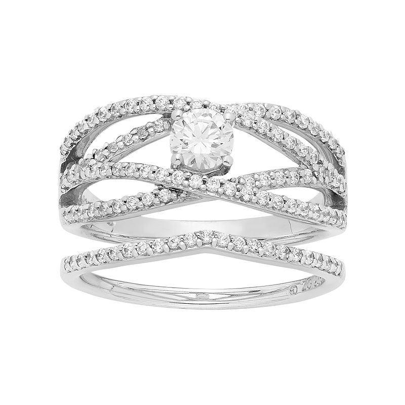 14k White Gold 1 Carat T.W. IGL Certified Diamond Openwork Engagement Ring Set