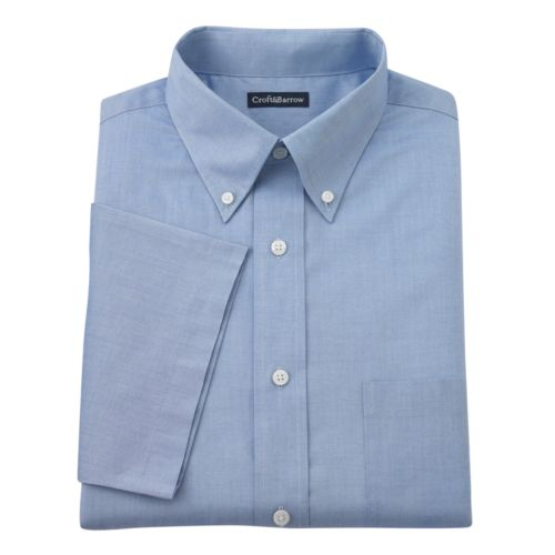 Men's Croft & Barrow® Fitted Solid Pinpoint Oxford Button-Down Collar Dress Shirt