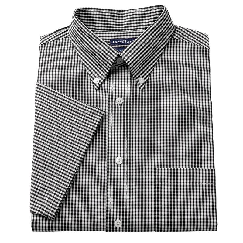 Men 39 s croft barrow fitted pinpoint oxford checked button for Pinpoint button down dress shirt