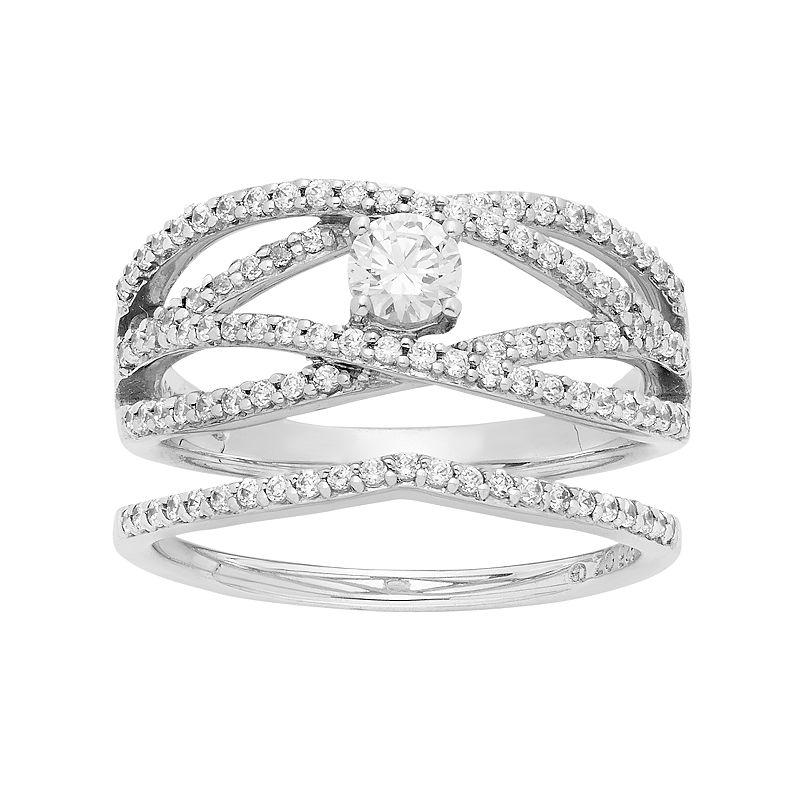 14k White Gold 3/4 Carat T.W. IGL Certified Diamond Openwork Engagement Ring Set