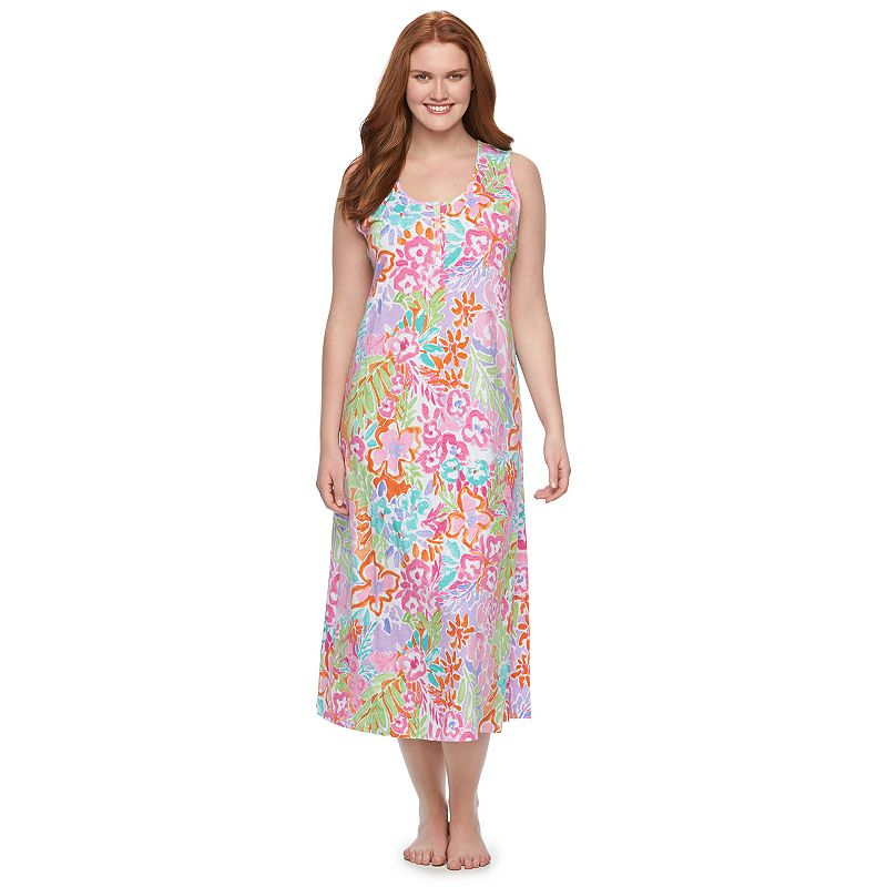 Plus Size Chaps Pajamas: Printed Maxi Nightgown