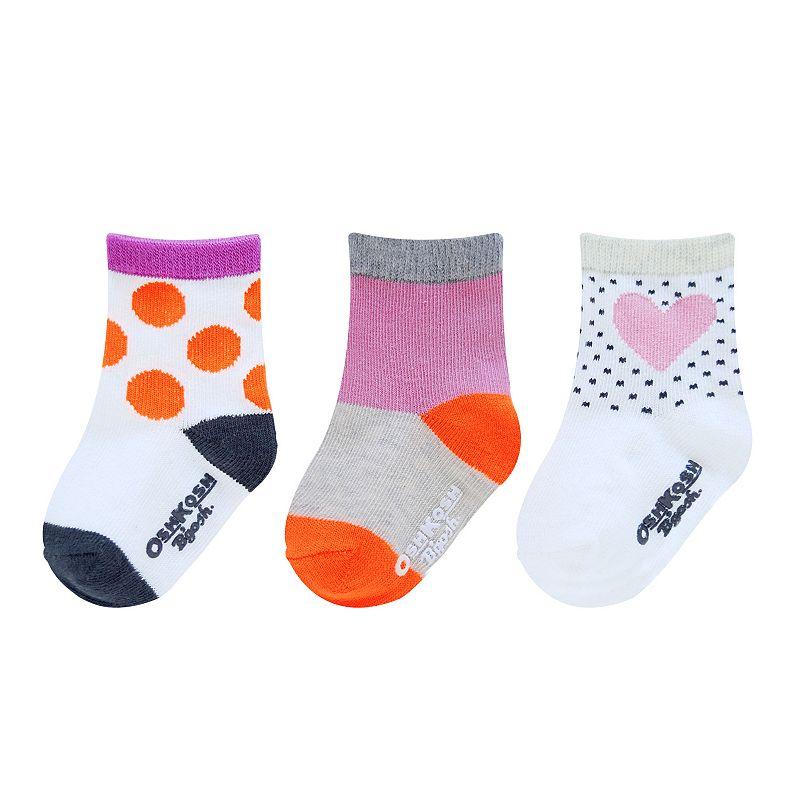 Girls OshKosh B'gosh® 3-pk. Polka-Dot Heart Socks
