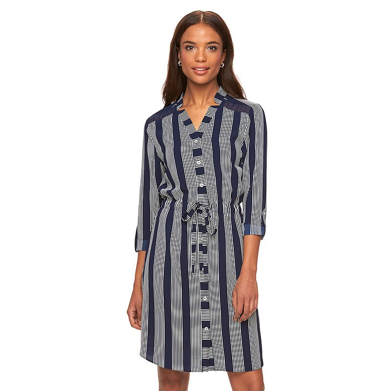 Women's Fifth & Park Striped Shirtdress