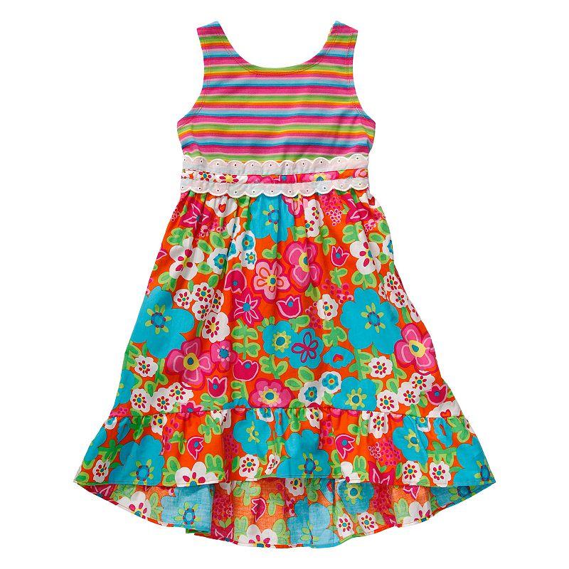 Girls 4-6x Youngland Floral High-Low Poplin Dress