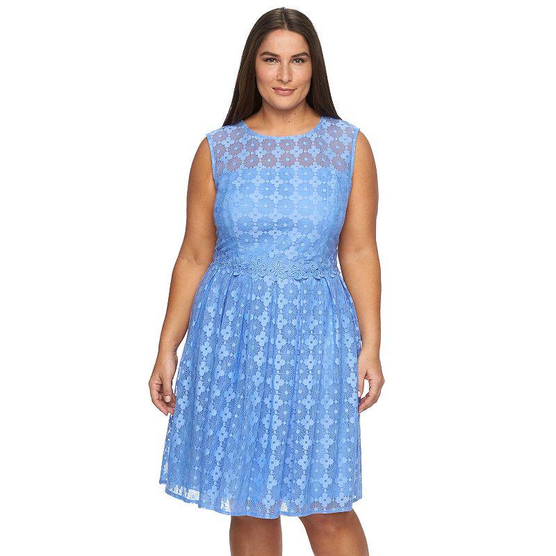 Plus Size Suite 7 Lace Crewneck Fit & Flare Dress