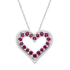14k White Gold Ruby Heart Pendant Necklace by