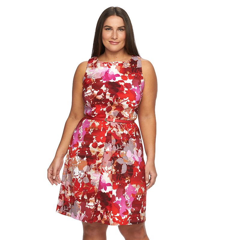 Plus Size Suite 7 Floral Belted Fit & Flare Dress