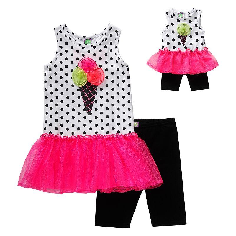 Girls 4-14 Dollie & Me Polka-Dot Drop-Waist Tutu Dress & Bike Shorts Set