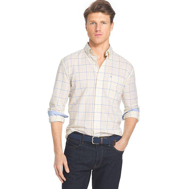 Big & Tall IZOD Classic-Fit Plaid Poplin Button-Down Shirt