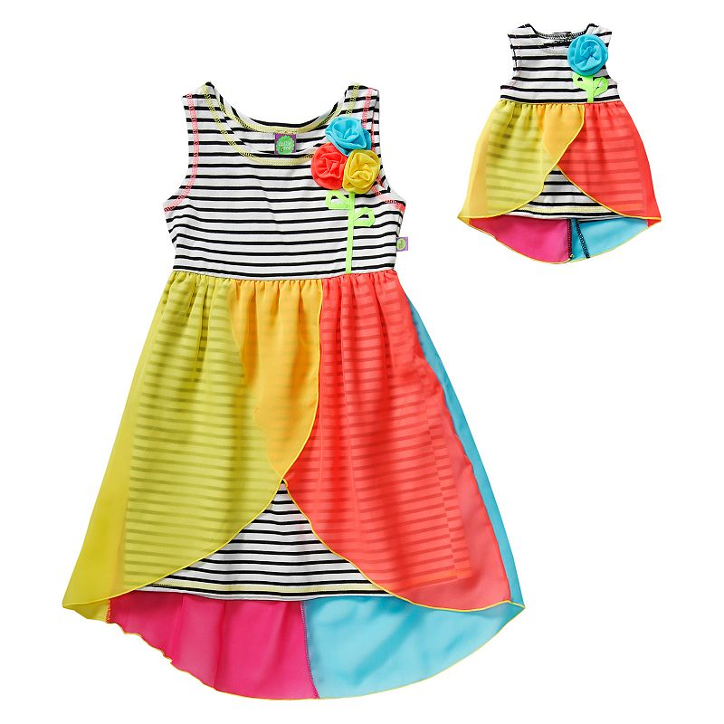 Girls 4-14 Dollie & Me Striped High-Low Chiffon Dress