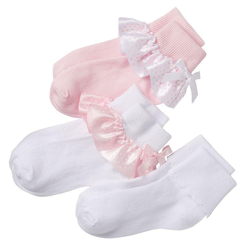 Girls Trimfit 3-pk. Ribbon Turn-Cuff Socks