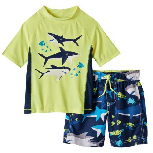 Toddler Boy Carter's Shark Rashguard & Swim Trunks Set