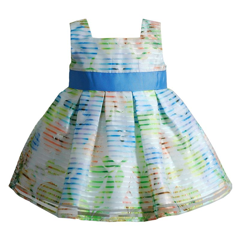Baby Girl Youngland Striped Pleated Dress