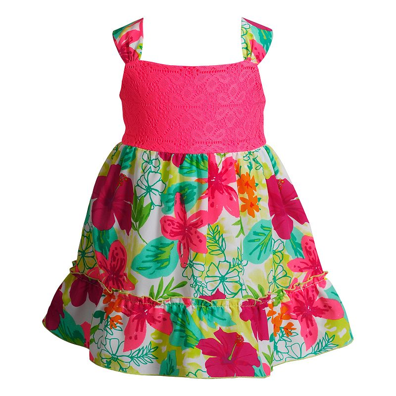 Toddler Girl Youngland Crochet Lace Tropical Floral Dress