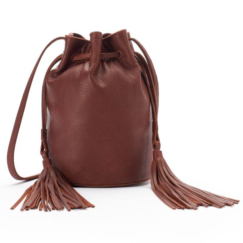 Fringe Crossbody Leather Bucket Bag, Women's, Drk Purple