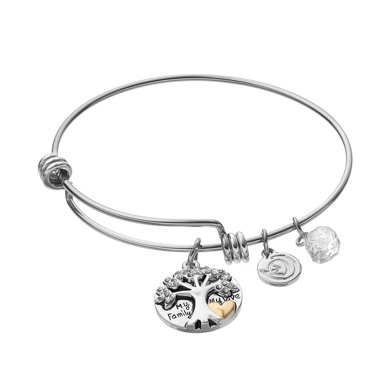 love this life Crystal Inspirational Family Tree Charm Bangle Bracelet