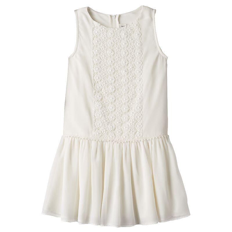 Girls 4-6x Rare Editions Floral Lace Drop-Waist Dress