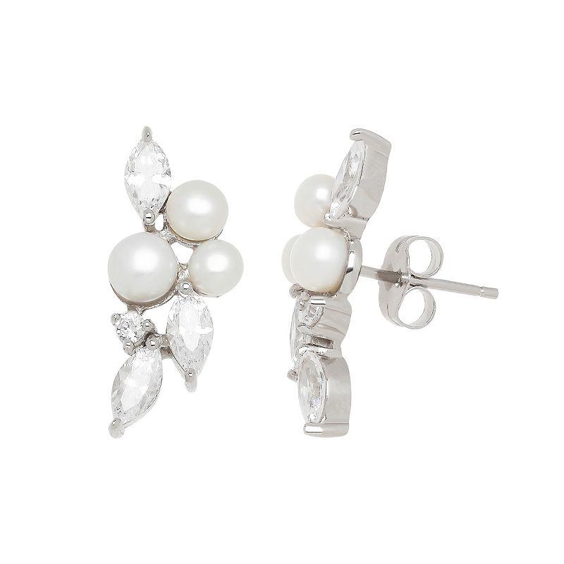 Freshwater by HONORA Sterling Silver Freshwater Cultured Pearl & Cubic Zirconia Leaf Stud Earrings