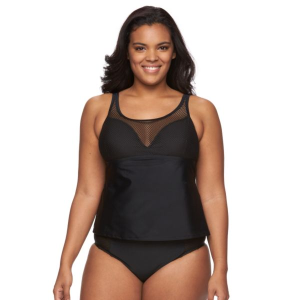 Plus Size Costa Del Sol Mesh Tankini Top