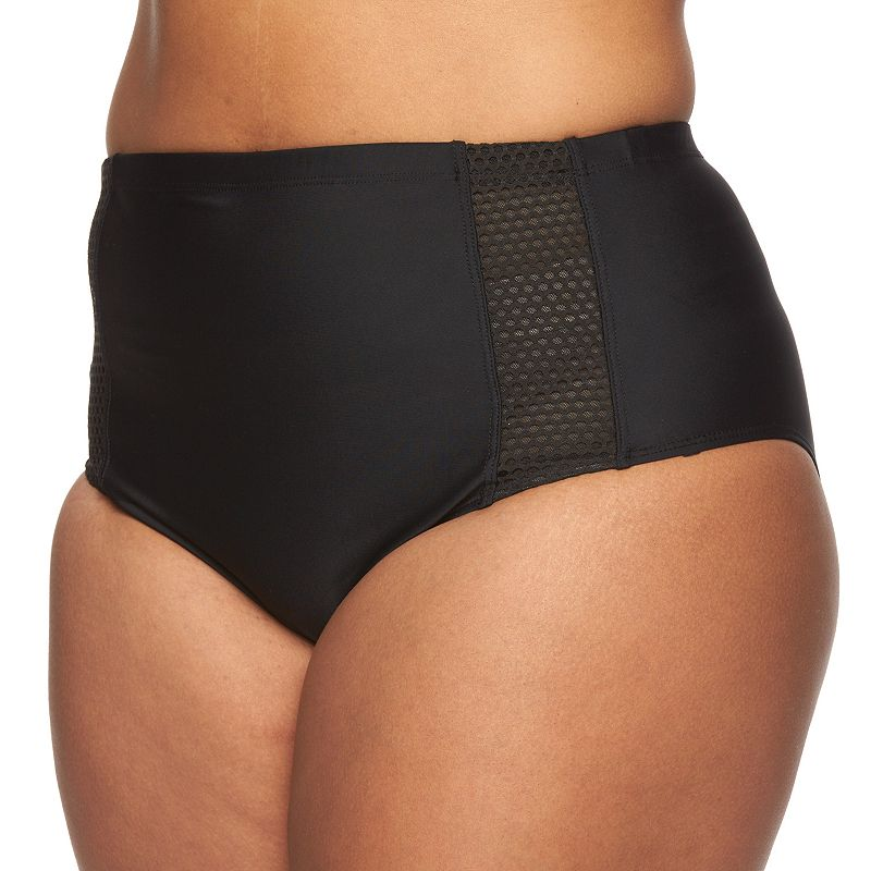 Plus Size Costa Del Sol Mesh High-Waisted Brief Bikini Bottoms