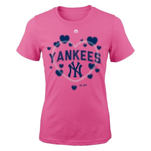Girls 7-16 Majestic New York Yankees Heart Stitched Tee