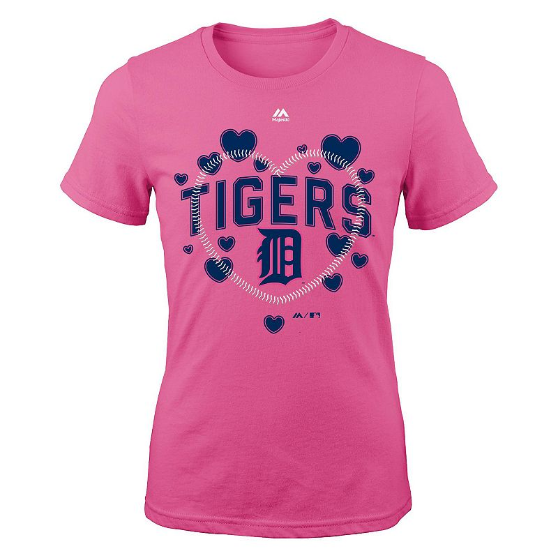Girls 7-16 Majestic Detroit Tigers Heart Stitched Tee