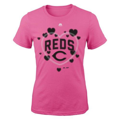 Girls 7-16 Majestic Cincinnati Reds Heart Stitched Tee