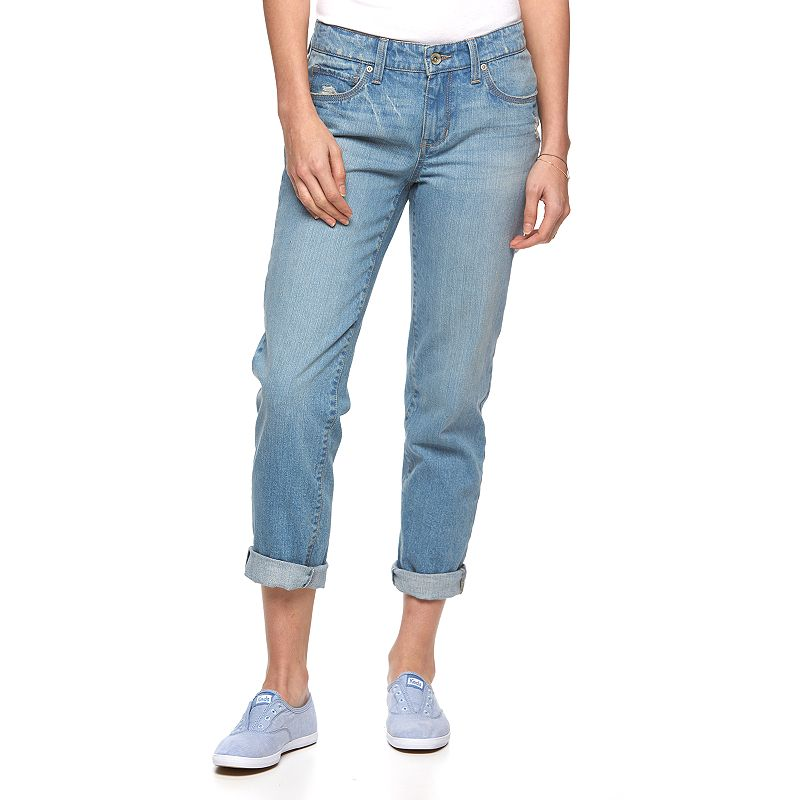 Women's SONOMA Goods for Life™ Destructed Boyfriend Jeans, Size: 2 Short, Blue Other